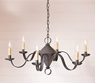 Public House Chandelier in Blackened Tin