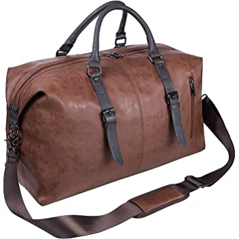 Oversized Leather Travel Duffel Bag, Weekender Overnight Bag Waterproof Leather Large Carry On Bag Travel Tote Duffel Bag for Men or Women-Brown