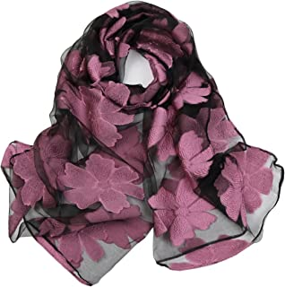 Ayli Women's Flora Flower Organza Scarf Long Shawl Lightweight Fashion Wrap