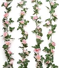Jinway 2PCS(16FT) Fake Rose Vine Garland Artificial Flowers plants for Hotel Wedding Home Party Garden Craft Art Decor Pink