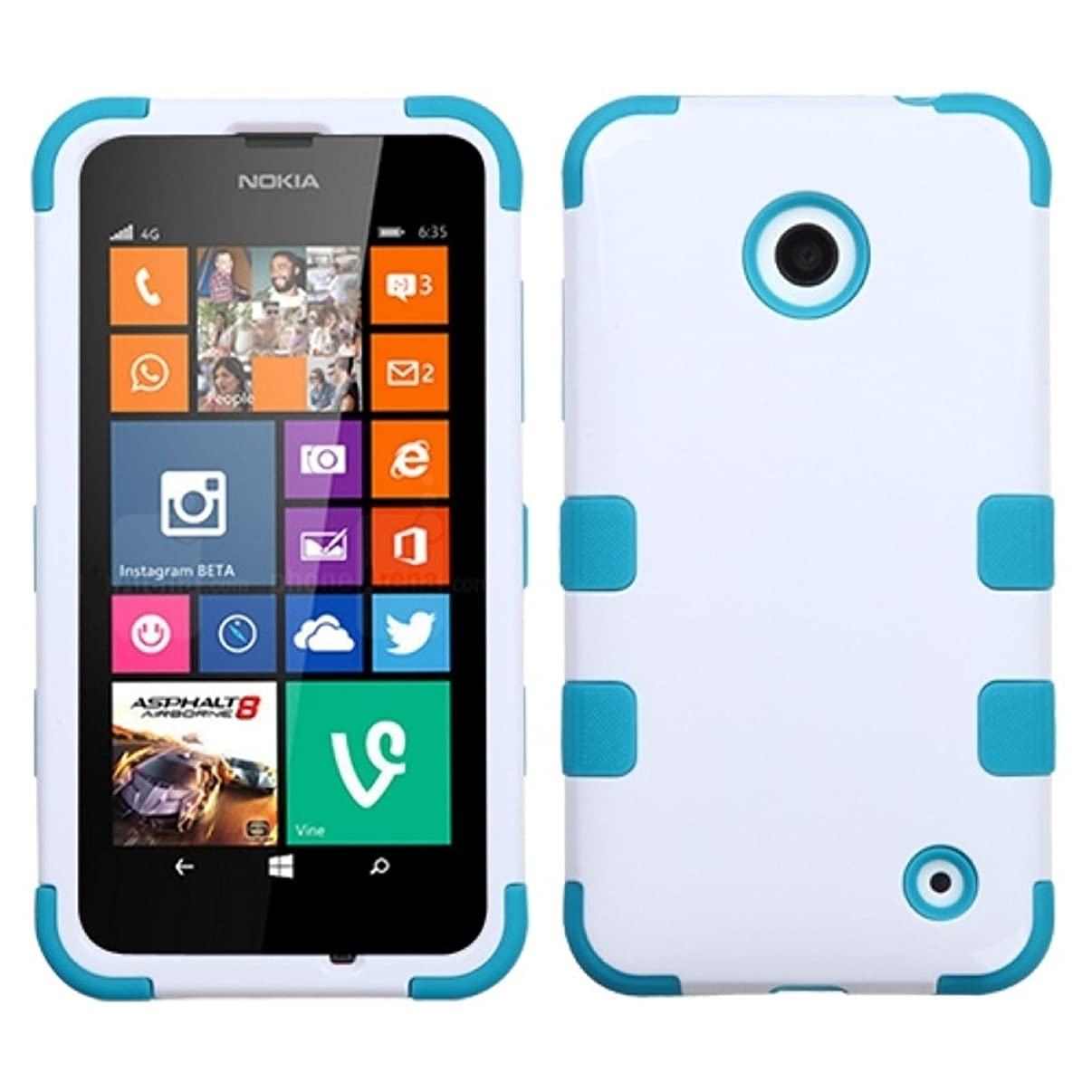 Asmyna Ivory TUFF Hybrid Phone Protector Cover for Nokia Lumia 630 - Retail Packaging - White/Tropical Teal