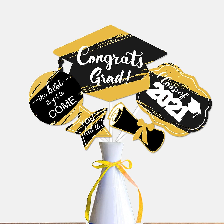 2021 Black and Gold Graduation Table To supreme Party Sticks Centerpiece Sale SALE% OFF