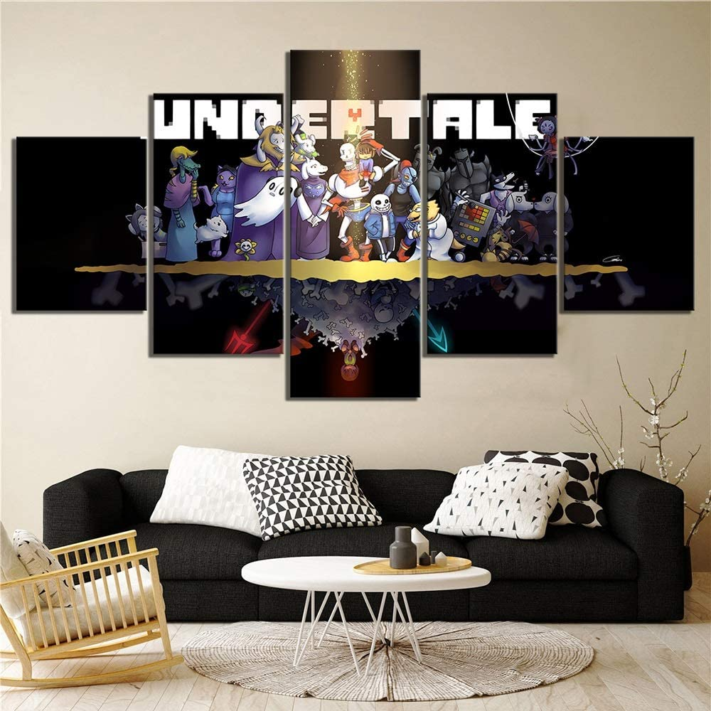 Fashion Canvas Painting Wall Artwork Pictures Canvas Posters Home Decoration Undertale Game 5 Panel Cartoon Abstract Painting HD Printed Photo Color : No Frame, Size Inch : 10x15 10x20 10x25cm
