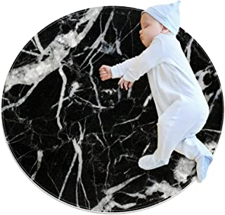 Soft Round Area Rug 100x100cm/39.4x39.4IN Anti-Slip Floor Circle Mats Absorbent Memory Sponge Standing Mat,Black marquina ...