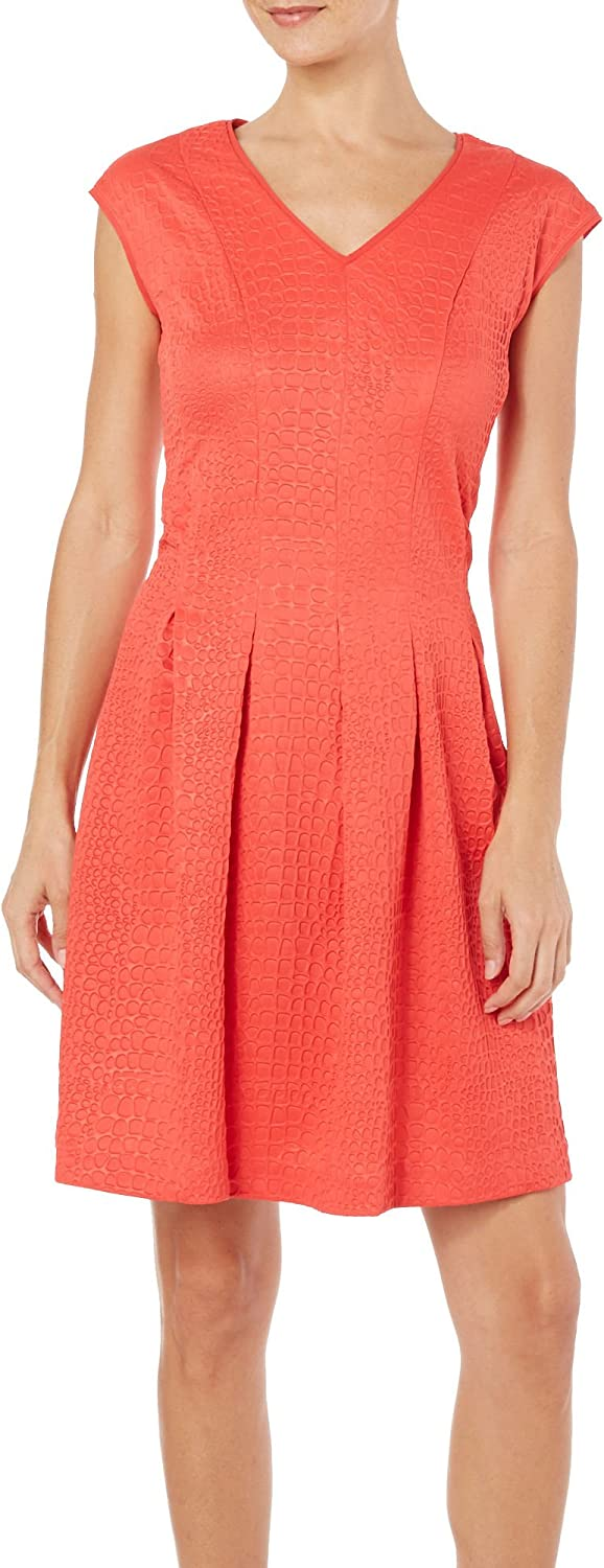 Gabby Skye Women's Sleeveless Fit and Flare Dress, Flame, 10
