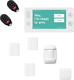 Cove 8 Piece Wireless Home Security System with 24/7 Professional Monitoring Trial, No Contracts — Touch Screen Panel, Door/Window Sensors, Motion Sensor, Flood Sensor, Key Remotes