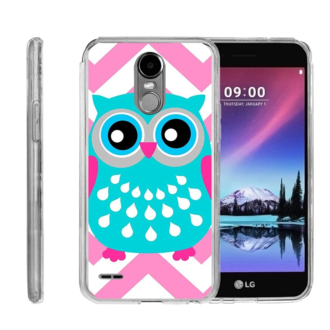 Flexible TPU Case by MINITURTLE Compatible with LG Stylo 3 / LG Stylo 3 Plus [Flex Force Clear Series] Flex Case with Retro Designs - Blue Pink Owl