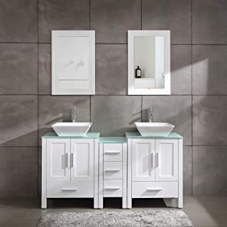 """60"""" Bathroom Vanity Cabinet with Double Sink Combo Glass Top White MDF Wood w/Mirror Faucet Drain Set"""