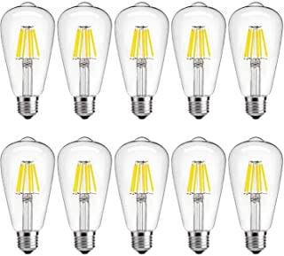 Dimmable LED Edison Bulb 6W 4000K Daylight, 60W Incandescent Equivalent Vintage ST64 LED Filament Bulbs, E26 Medium Base, Clear Glass Cover, Pack of 10