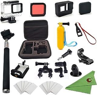 مجموعة إكسسوارات Xixihaha 28 في 1 لـ GoPro Hero7/6/5 Action Video Camera Waterproof Case Storage Bike Mount Selfie Stick D...