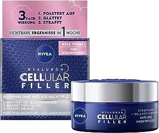 NIVEA Hyaluron cellulär fyllmedel anti-age nattvård kräm (50 ml), regenererande ansiktsvård med magnolia extrakt, anti-ryn...