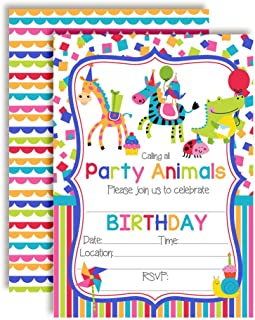Calling All Party Animals Themed Birthday Party Invitations, 20 5