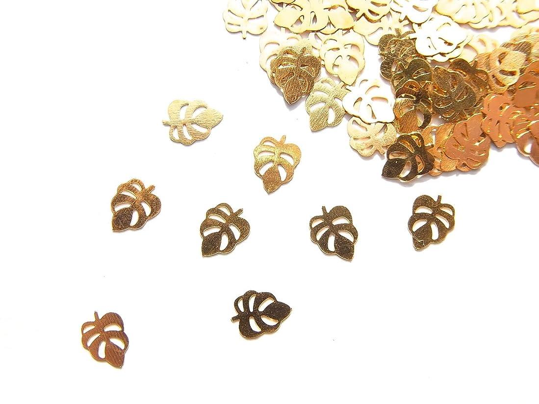 スロー通行人調和のとれた【jewel】ug30 薄型ゴールド メタルパーツ 葉っぱ リーフ 10個入り ネイルアートパーツ レジンパーツ