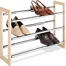 Whitmor 6026-2516 Wood & Chrome Shoe Rack, 3 Tier
