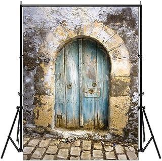 5x 7ft AAAA Less折り目ブルー木製fan-shapedドア石床写真写真背景Studioバックドロップ小道具Best for Personal写真、壁の装飾、ベビー、キッズフォト(更新された素材