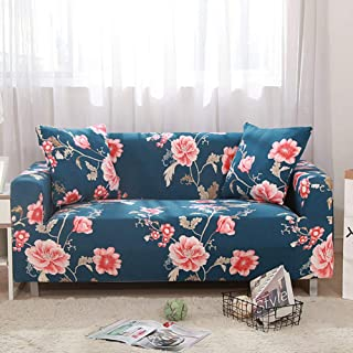 nordmiex Stretch Sofa Slipcovers Fitted Furniture Protector Printed Sofa Cover Stylish Fabric Couch Cover with 2 Pillowcases for 3 Cushion Couch(Sofa-3 Seater,Peony)