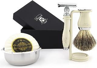 Męski zestaw do golenia - maszynka do golenia z podwójną krawędzią, czysta szczotka do włosów z uchwytem kości słoniowej z...