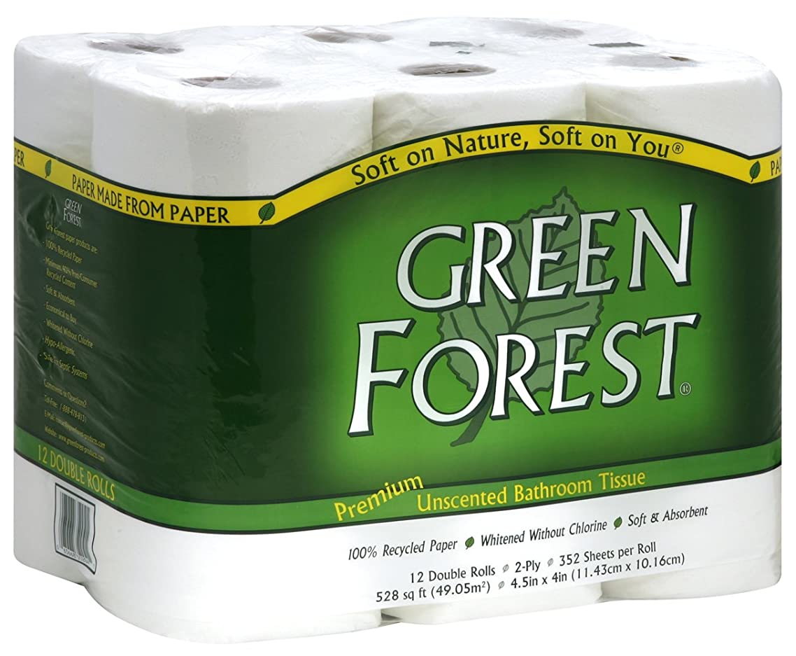 Green Forest Premium 100% Recycled Bathroom Tissue, 352 Sheets, 12 Rolls (Pack of 4)