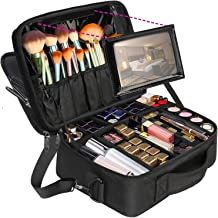 Professional Makeup Bag,Large Travel Cosmetic Makeup Train Case with Mirror for Women, Waterproof Toiletry Organizer Bag with Adjustable Divider Portable Storage Bag 16.5 Inch Black