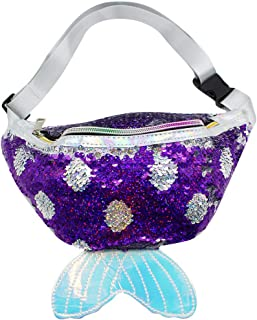Fashion Mermaid Sequin Scale Tail Waist Bag Girls Reversible Waist Pack Glitter Sling Bag with Adjustable Belt for Beach Travel, Party,Hiking, Daily,Sport Running