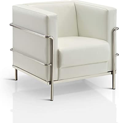 Amazon.com: Brika Home Leather Club Arm Chair in White ...