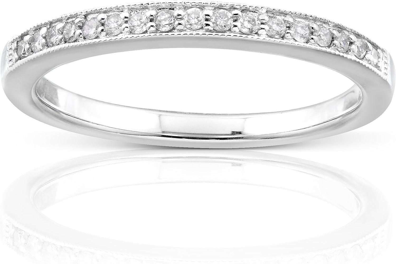 Kobelli Diamond Wedding Band 1/10 carat (ctw) in 14K White Gold