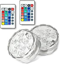 Yun Boo Submersible Led Lights Remote Controlled with 10 LED, Battery Powered for Aquarium, Fountain, Vase Base, Bathtubs, Swimming Pool, Pond, Hot Tub (2)