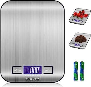 ADORIC Báscula Digital para Cocina de Acero Inoxidable, 5kg / 11 lbs, Balanza de Alimentos Multifuncional, Peso de Cocina,...