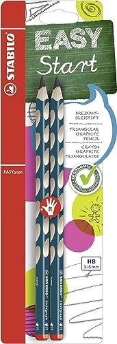 Stabilo Crayon graphite ergonomique - STABILO EASYgraph - 2 crayons graphite HB (bleu ardoise) - Droitier