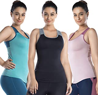 LIN Women's Long Sleeve Yoga Shirts Ombre Scoop Neckline Athletic Dry Fit Workout Gym Top Activewear