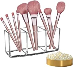 Arashill Makeup Brush Holders,Clear Makeup Brush Organizer, 3 Slot Acrylic Cosmetics Makeup Brushes Storage With Some Free...