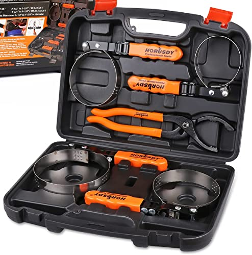"lowest HORUSDY 5-Piece Standard Oil Filter Swivel Wrench Set, 2-3/4"" - 5-1/4""(68.85-133.35mm), 12"" new arrival Adjustable Oil Filter 2021 Pliers, Adjustable Oil Filter Removal Tool outlet online sale"