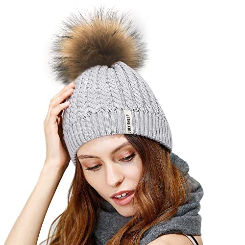 029883e8a94 JULY SHEEP Womens Girls Winter Crochet Knit Hat Wool Knitted Beanie with  Pom Pom Bobble Ski