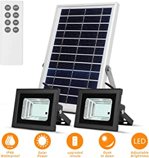 Solar Flood Lights Led Lights Remote Solar Lights Dusk to Dawn Solar Security Light with 6W 800 LM Dual 42 LEDs IP65 Waterproof Outdoor Solar Lights for Fence,Yard,Garden,Pool,Street,Lawn,Flag Pole