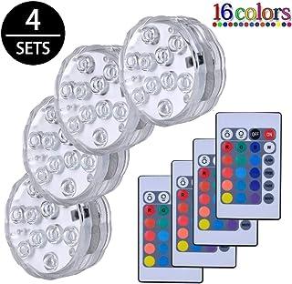 Luces Sumergibles,4PCS Piscina Luz LED Impermeable,Control