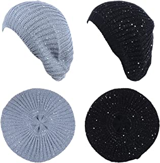 Be Your Own Style BYOS Women's Cute Subtle Sparkly Sequin Cable Knitted Crochet Beret Beanie Hat,Mid-Weight Lightweight