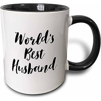 3dRose Phrase-Worlds Best Husband Two Tone Black Mug, 11 oz