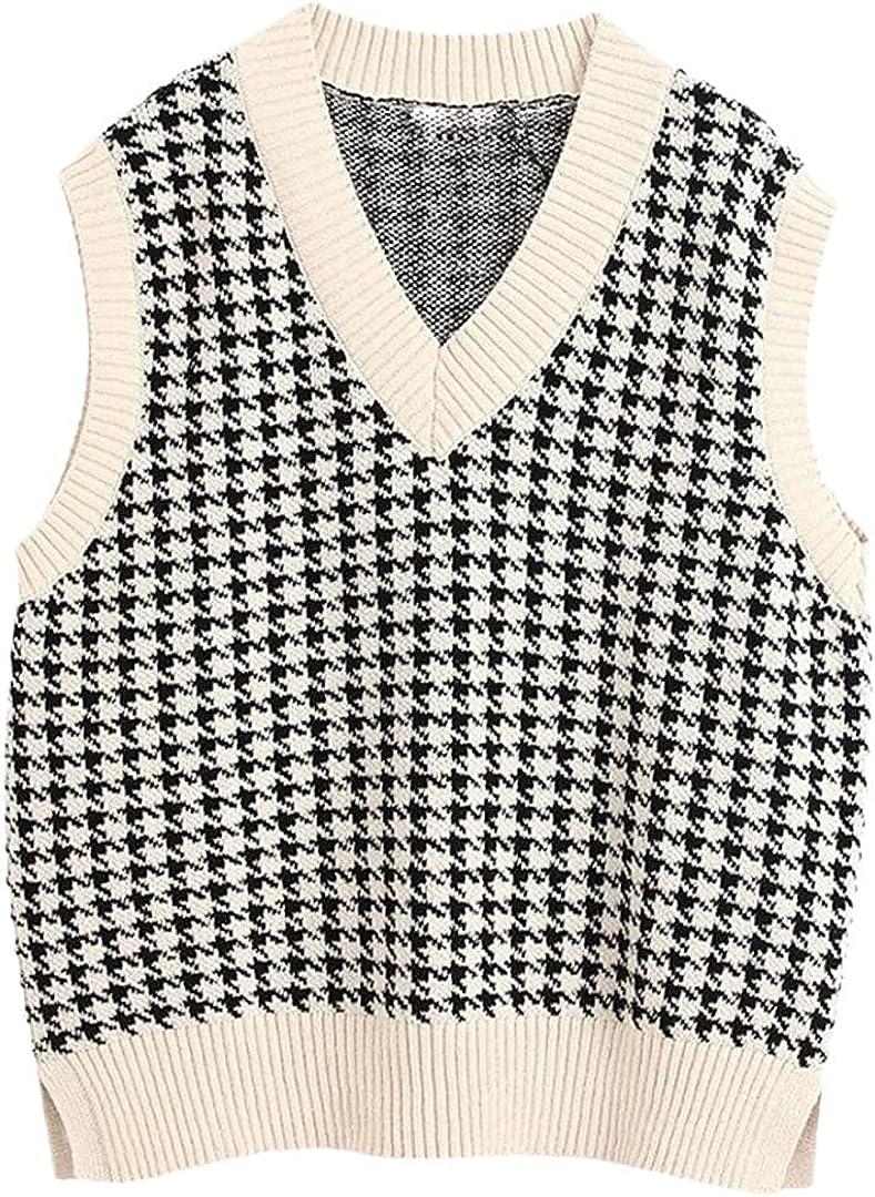 Oversized Knitted Vest Sweater Women Vintage Sleeveless Female Waistcoat Loose Chic Tops