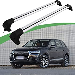 Snailfly Fit for 2016-2019 Audi Q7 Lockable Adjustable Cross Bars Black Roof Rack