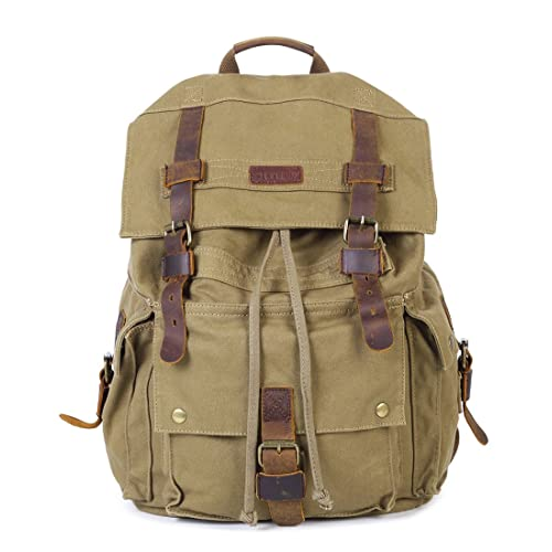 Paraffin Outdoor Canvas Backpack Hiking Camping Rucksack Heavy Duty Daypack  School Backpack for Men and Women 27856e7f06ce9