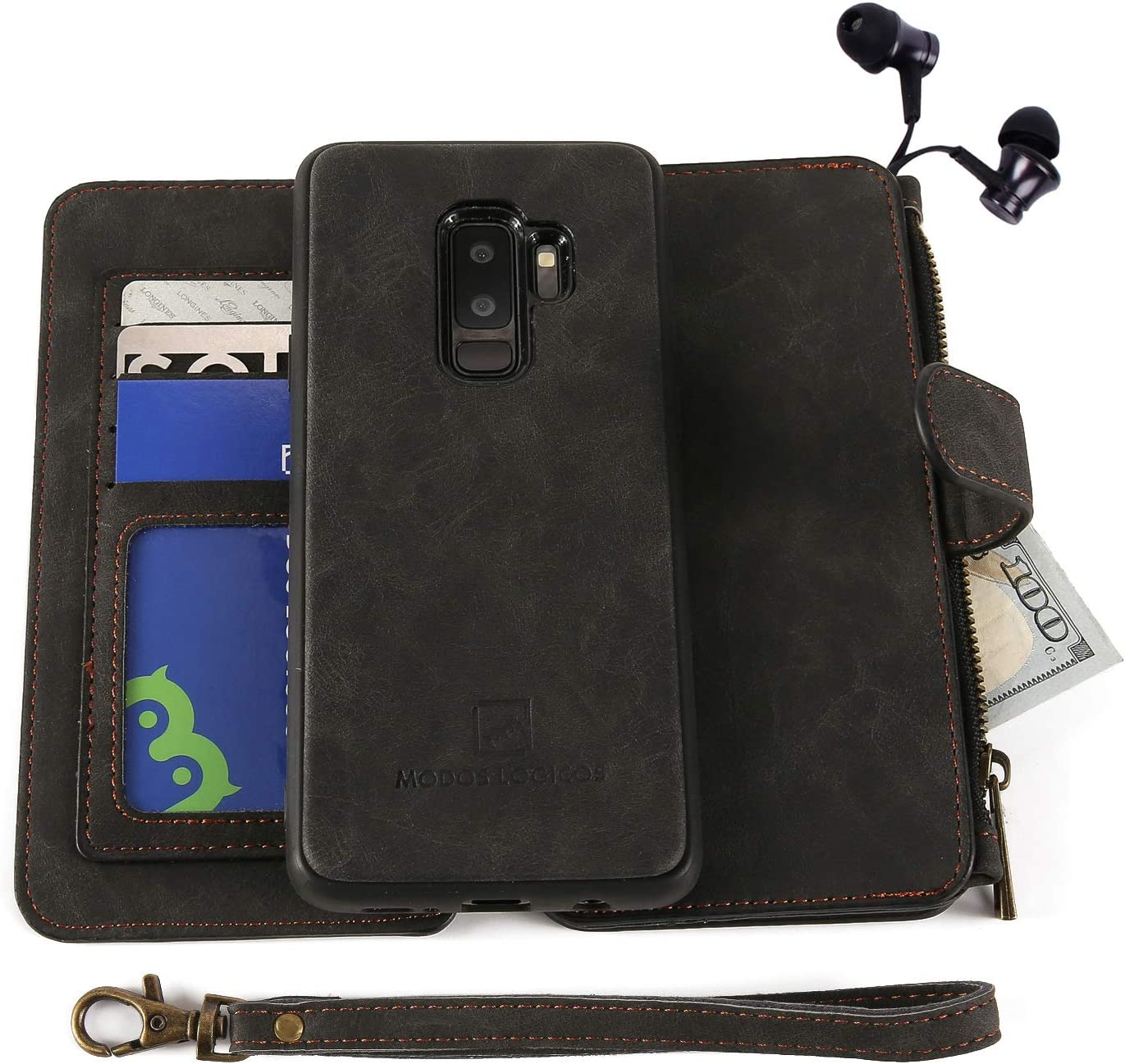 MODOS LOGICOS Case for Samsung Galaxy S9 Plus, [Detachable Wallet Folio][2 in 1][Zipper Cash Storage][14 Card Slots 1 Id Window] PU Leather Purse Clutch with Removable Inner Magnetic TPU Case -Black