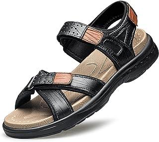 GHC Leisure Slippers & Sandals, Men's Beach Sandals Genuine Leather Hook&Loop Closure Sport Sandal Open Toe Slip Resistant...