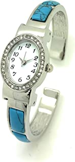 Ladies Oval Metal Bangle Cuff Fashion Watch with Stones White Dial Rhinestones