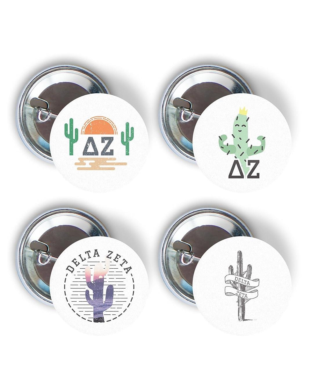 Delta Zeta Sorority Cactus Desert Variety Pack of Buttons Pin Back Badge 2.25-inch DZ