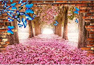 Laeacco 10x6.5ft Romantic Pink Petals Road Background Blooming Flower Trees Vinyl Photography Backdrops Rustic Brick Wall Blue Butterfly Wedding Photo Studio Girls Newlywed Portraits Spring Scenery