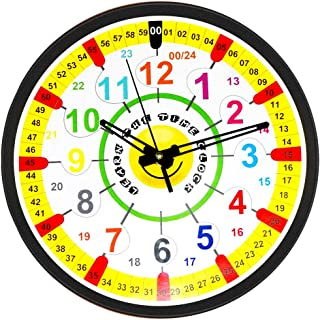 Easy to Read Time Teacher Children's Wall Clock | 12 and 24 Hour Wall Clock with Silent Tick | Learn to Tell The Time in 2 Simple Steps | for Children Age 5-12