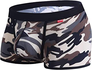 Greatfun Underwear Stylish Mens U Convex Pocket Casual Camouflage Sports Breathable Plain Pants Sexy Underpants Nylon Attractive