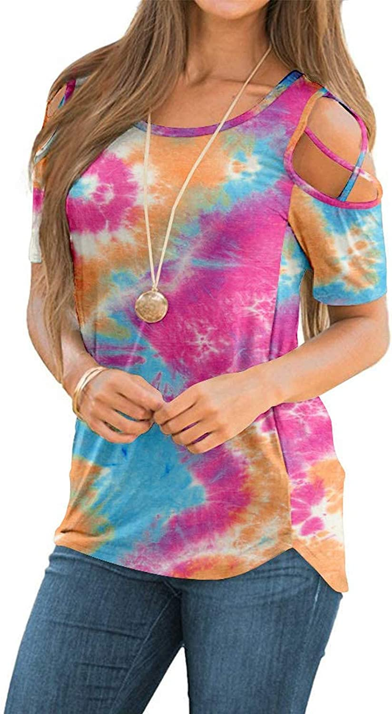 Qopobobo Women Summer T Shirts,Womens Loose Fit Tops Short Sleeve Cool Shoulder O Neck Casual Casual Tee Shirts Tshirts