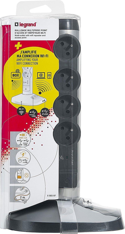 Legrand 050014 Rallonge Multiprise et USB Verticale avec Parafoudre Int/égr/é Blanc//Gris