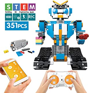 Mould King Remote Controlled Building Block Dinosaur,Building Blocks Assembly Electronic Dinosaur Robot Walking Dinosaur Toys for Boys Girls Age of 6,7,8,9-14 Year Old (Blue)